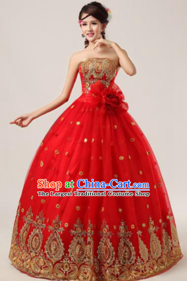 Top Grade Compere Costume Waltz Dance Modern Dance Stage Performance Red Dress for Women