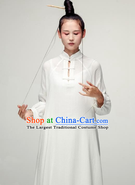 Chinese National Costume Traditional Linen Cheongsam Tang Suit Qipao Dress for Women