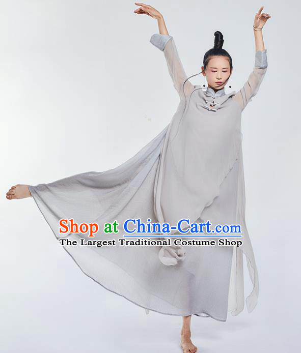 Chinese National Costume Traditional Grey Silk Cheongsam Tang Suit Qipao Dress for Women