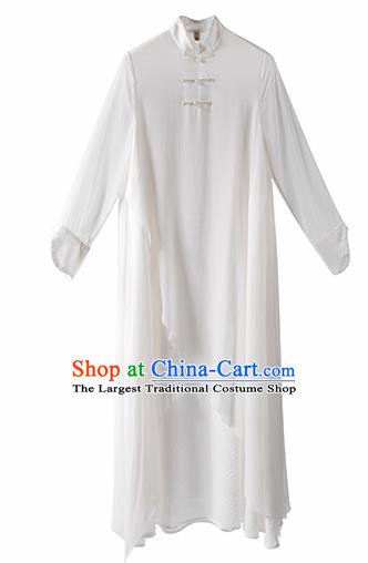 Chinese National Costume Traditional White Silk Cheongsam Tang Suit Qipao Dress for Women