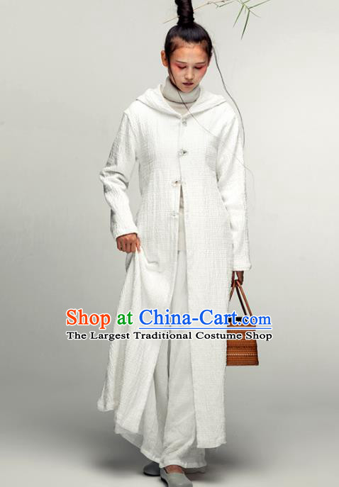 Chinese National Costume Traditional Tang Suit White Dust Coat for Women