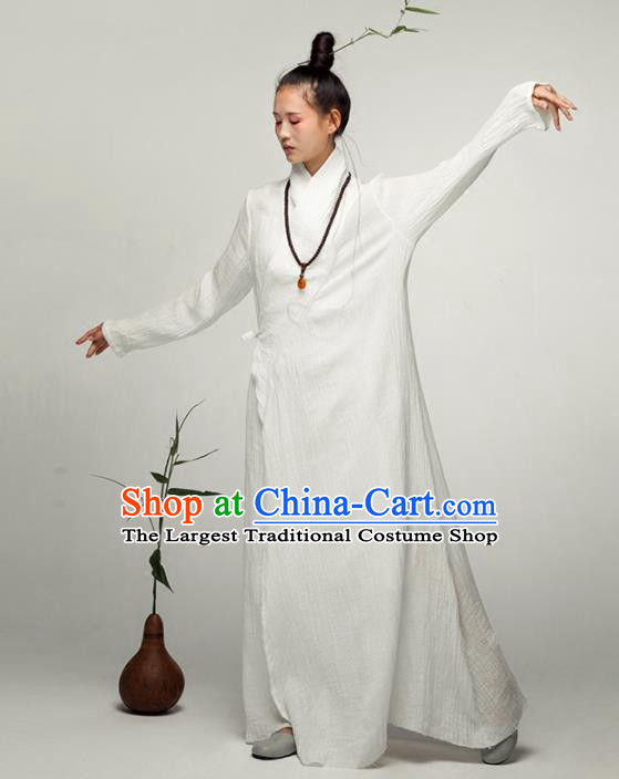 Chinese National Costume Traditional Tang Suit Slant Opening Linen Qipao Dress for Women