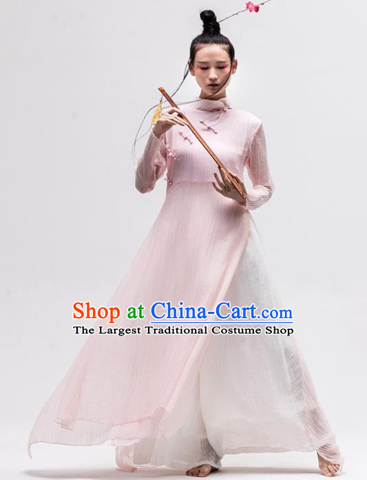 Chinese National Costume Traditional Cheongsam Tang Suit Pink Qipao Dress for Women