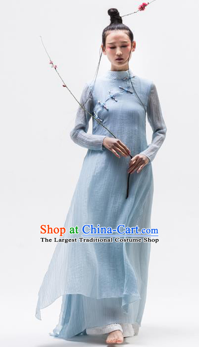 Chinese National Costume Traditional Cheongsam Tang Suit Blue Qipao Dress for Women