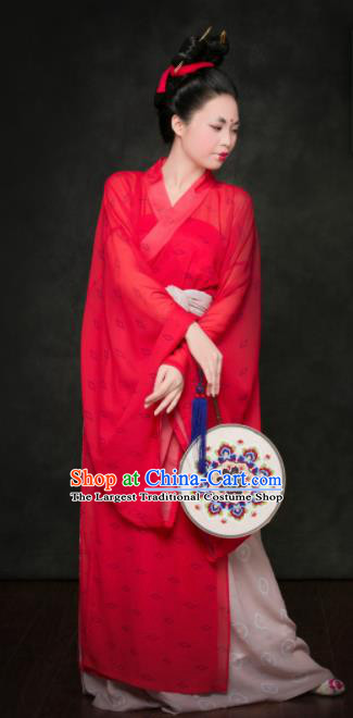 Traditional Chinese Tang Dynasty Court Maid Replica Costumes Ancient Maidenform Red Hanfu Dress for Women