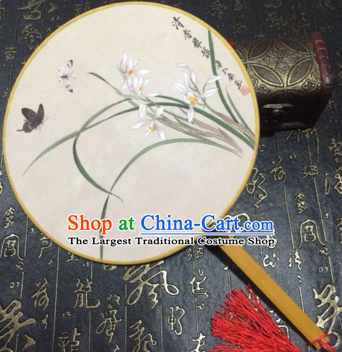 Chinese Ancient Palace Fans Handmade Printing Orchid Round Fans for Women