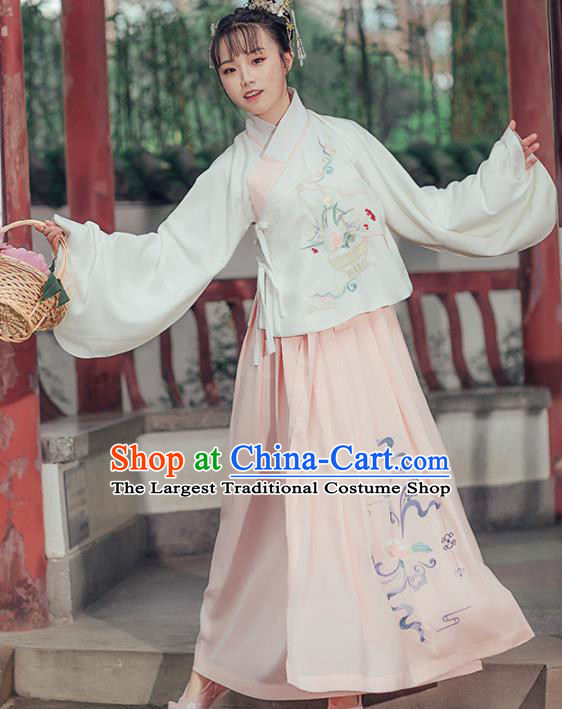 Chinese Ancient Embroidered Costumes Traditional Ming Dynasty Nobility Lady Hanfu Dress for Women