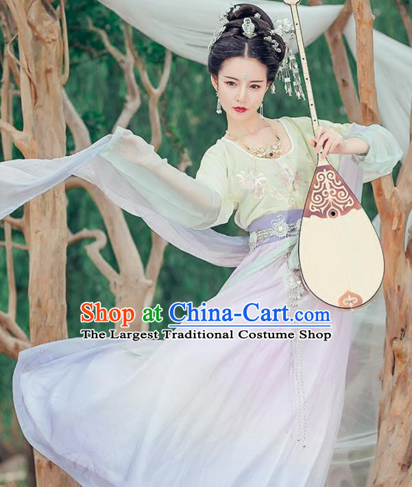 Chinese Ancient Flying Apsara Embroidered Costumes Traditional Tang Dynasty Princess Hanfu Dress for Women