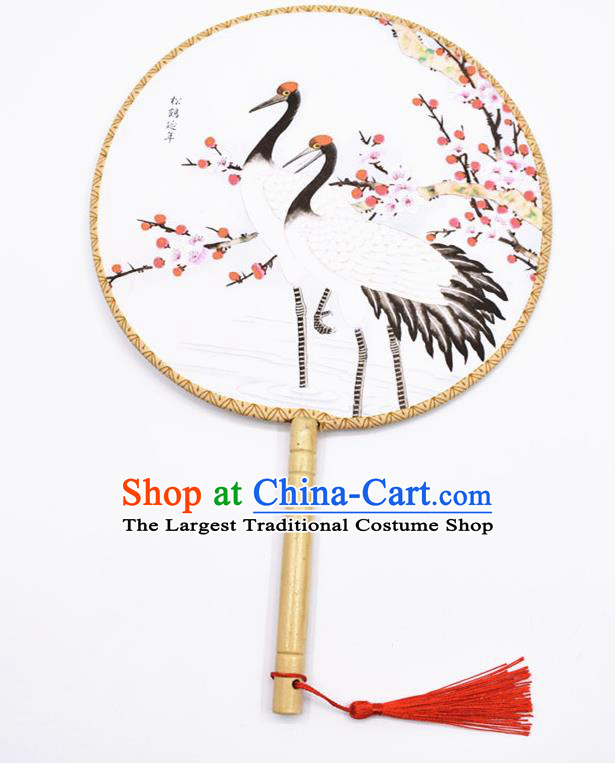 Chinese Ancient Palace Fans Handmade Printing Cranes Round Fans for Women