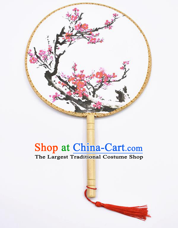 Chinese Ancient Palace Fans Handmade Printing Plum Blossom Round Fans for Women