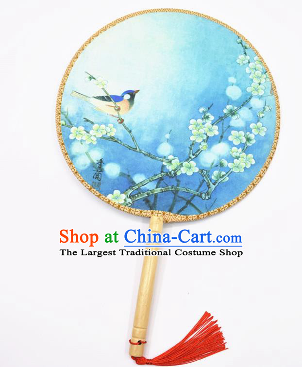 Chinese Ancient Palace Fans Handmade Traditional Printing Blue Silk Round Fans for Women