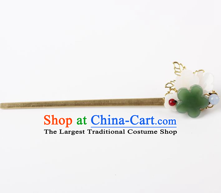 Chinese Ancient Hanfu Hair Accessories Traditional Jade Hairpins for Women