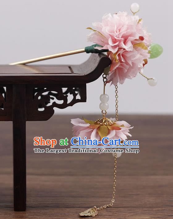 Chinese Ancient Hanfu Hair Accessories Traditional Pink Flowers Hairpins for Women