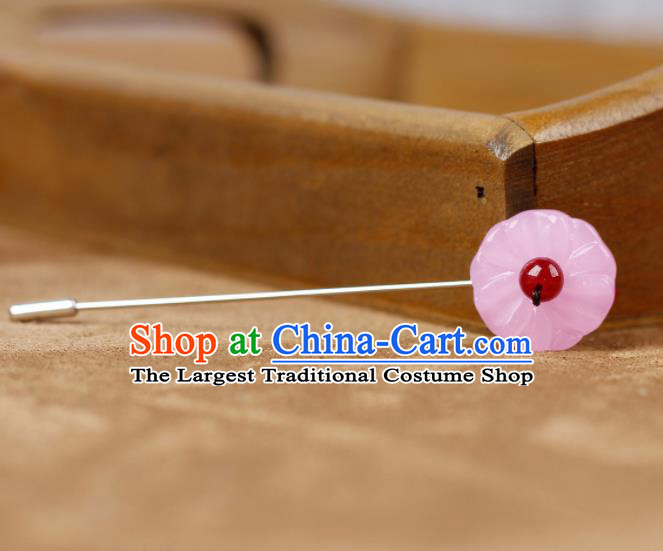 Chinese Ancient Hanfu Jewelry Accessories Traditional Cheongsam Pink Brooch for Women
