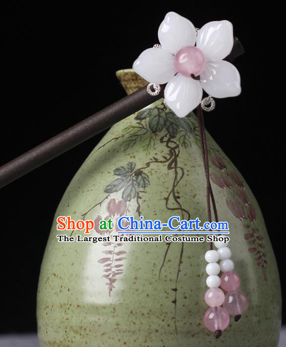 Chinese Ancient Hanfu Hair Accessories Traditional Pink Beads Hairpins for Women