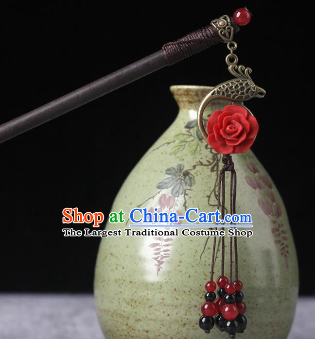 Chinese Ancient Hanfu Hair Accessories Traditional Red Beads Hairpins for Women