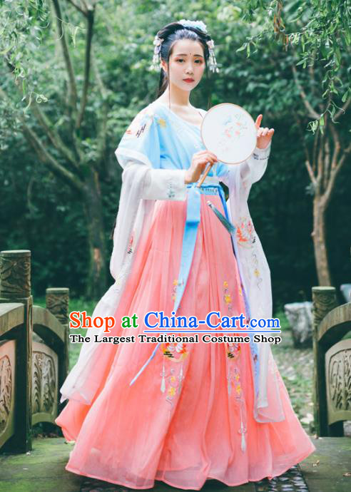 Chinese Ancient Young Lady Embroidered Costumes Tang Dynasty Hanfu Dress for Women