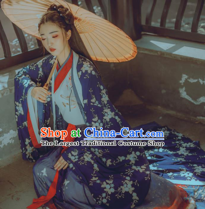 Chinese Ancient Young Lady Costumes Jin Dynasty Princess Embroidered Hanfu Dress for Women