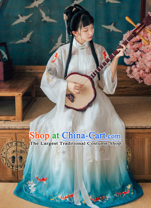 Chinese Ancient Maidenform Costumes Ming Dynasty Princess Embroidered Hanfu Dress for Women