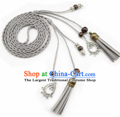 Chinese Ancient Hanfu Hair Accessories Traditional Swordswoman Grey Hair Band  for Women