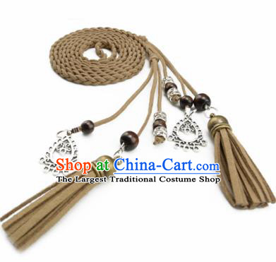Chinese Ancient Hanfu Hair Accessories Traditional Swordswoman Khaki Hair Band  for Women