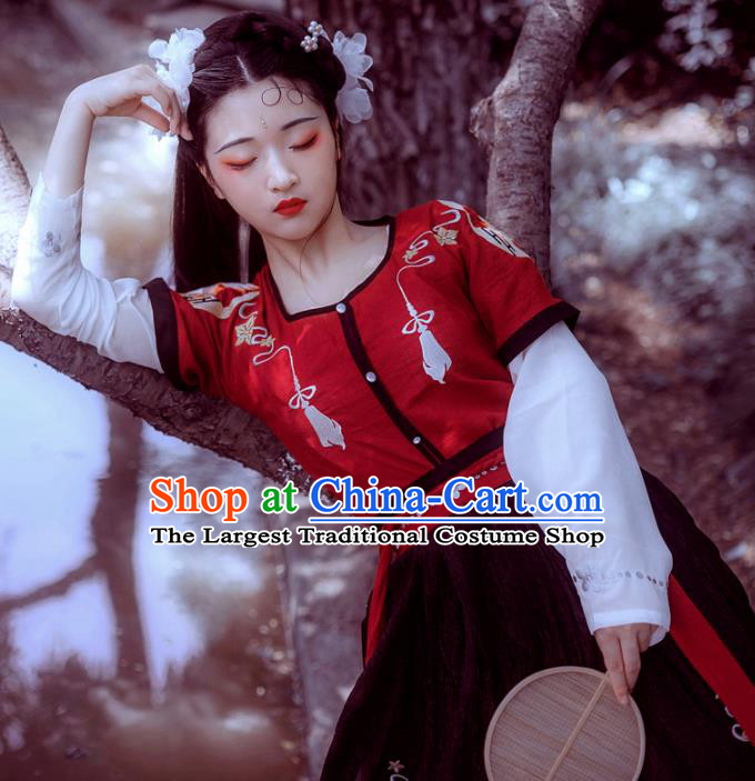 Chinese Ancient Tang Dynasty Princess Costumes Embroidered Hanfu Dress for Women