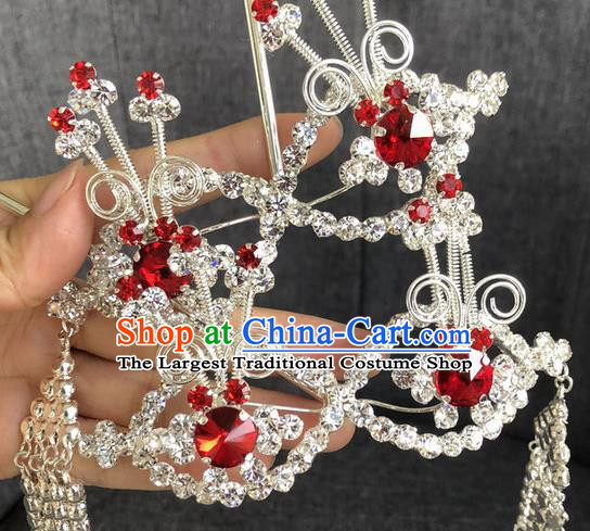 Chinese Traditional Beijing Opera Hair Accessories Ancient Red Crystal Hairpins for Women