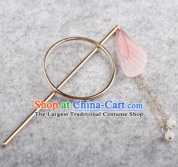 Chinese Ancient Hanfu Hair Accessories Traditional Swordswoman Pink Butterfly Wing Hairpins for Women