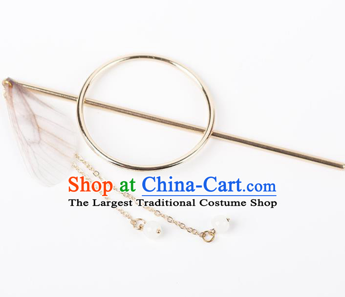 Chinese Ancient Hanfu Hair Accessories Traditional Swordswoman White Butterfly Wing Hairpins for Women