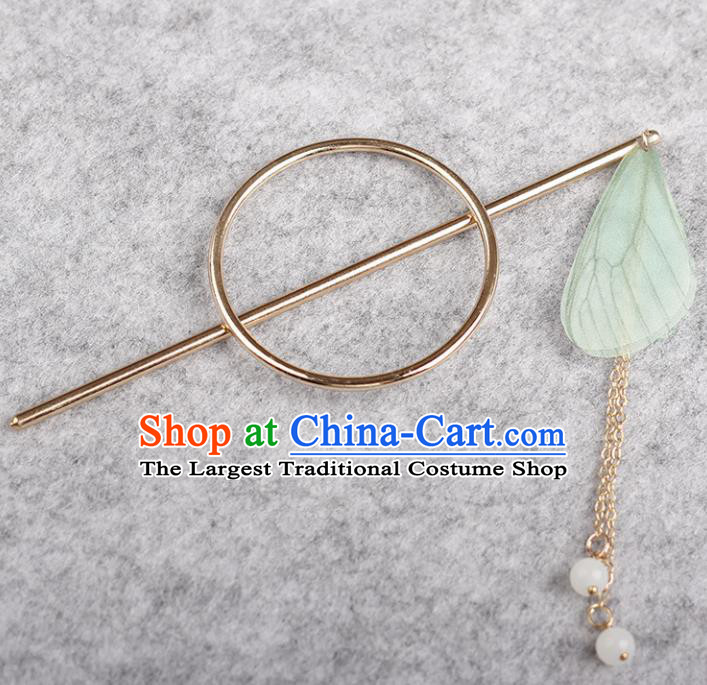 Chinese Ancient Hanfu Hair Accessories Traditional Swordswoman Green Butterfly Wing Hairpins for Women