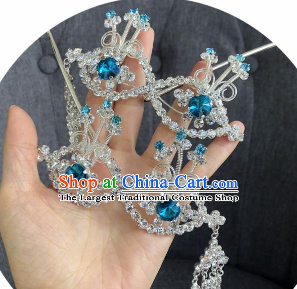 Chinese Traditional Beijing Opera Hair Accessories Ancient Blue Crystal Hairpins for Women