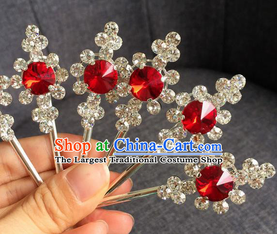 Chinese Traditional Peking Opera Diva Hair Accessories Ancient Red Crystal Hairpins for Women