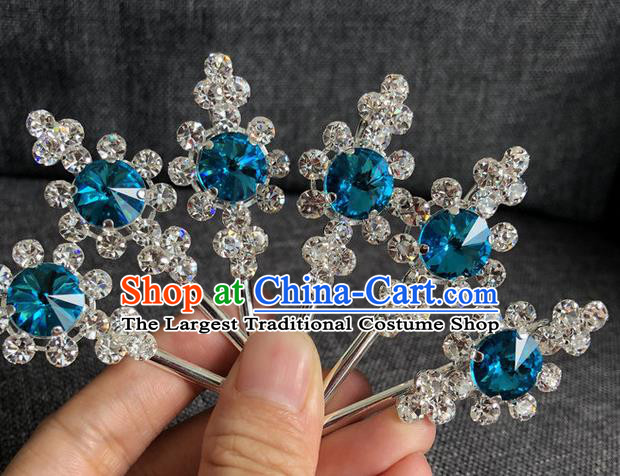 Chinese Traditional Peking Opera Diva Hair Accessories Ancient Blue Crystal Hairpins for Women