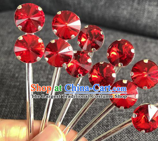 Chinese Traditional Peking Opera Diva Red Crystal Hair Accessories Ancient Princess Hairpins for Women