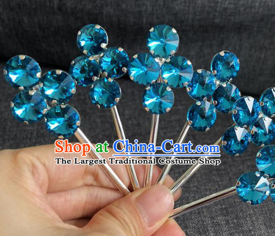 Chinese Traditional Peking Opera Diva Hair Accessories Ancient Princess Blue Crystal Hairpins for Women