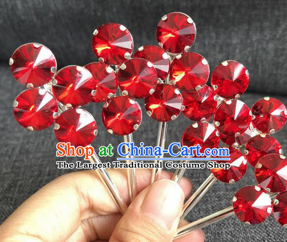 Chinese Traditional Peking Opera Diva Hair Accessories Ancient Princess Red Crystal Hairpins for Women