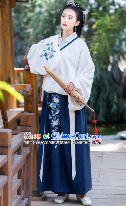 Chinese Ancient Ming Dynasty Costumes Embroidered Hanfu Dress for Women