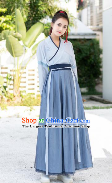 Chinese Ancient Jin Dynasty Costumes Swordswoman Embroidered Hanfu Dress for Women