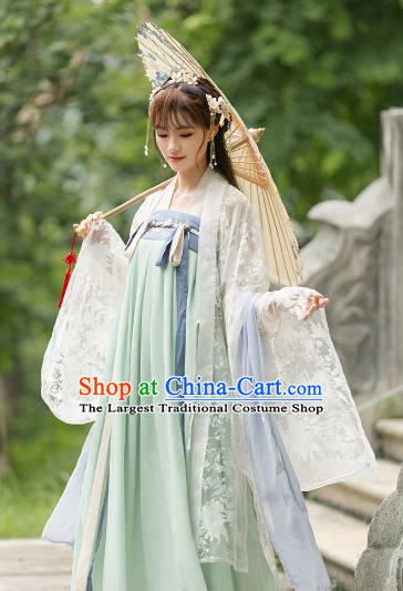 Ancient Chinese Tang Dynasty Costumes Princess Embroidered Hanfu Dress for Women