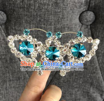 Chinese Traditional Peking Opera Diva Blue Crystal Butterfly Brooch Jewelry Accessories Ancient Princess Breastpin for Women
