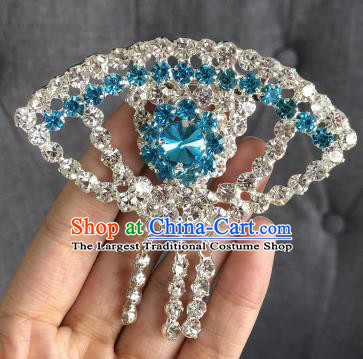 Chinese Traditional Peking Opera Diva Blue Crystal Fanshaped Brooch Jewelry Accessories Ancient Princess Breastpin for Women