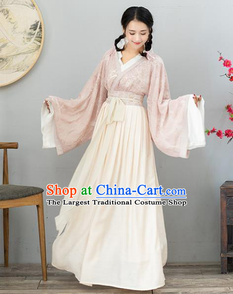Ancient Chinese Jin Dynasty Princess Costumes Fairy Embroidered Lace Hanfu Dress for Women