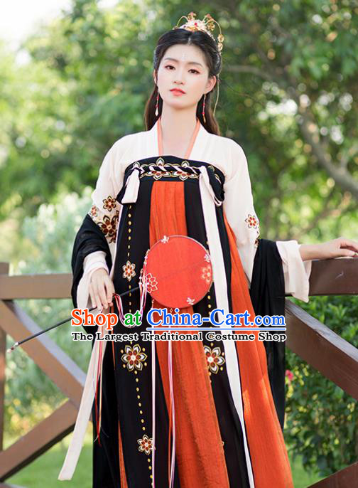 Chinese Tang Dynasty Peri Costumes Ancient Palace Princess Embroidered Hanfu Dress for Women