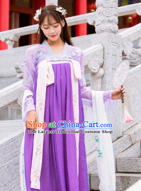 Chinese Ancient Tang Dynasty Nobility Lady Embroidered Costumes Purple Hanfu Dress for Rich