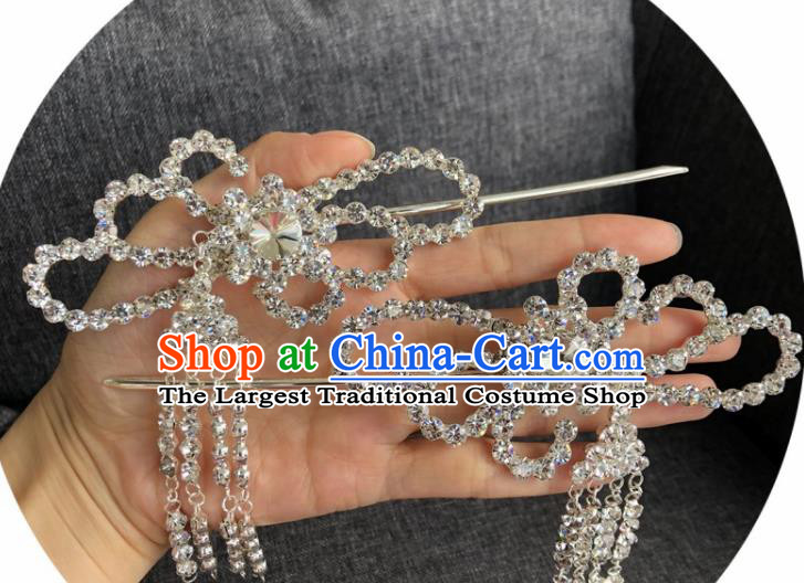 Chinese Traditional Peking Opera Diva Hair Accessories Ancient Crystal Tassel Hairpins for Women