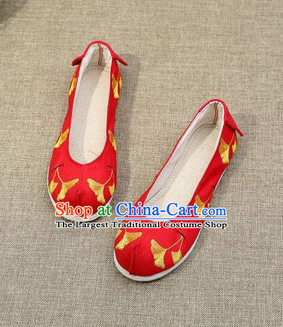 Chinese Ancient Traditional Embroidered Shoes Hanfu Embroidery Ginkgo Red Cloth Shoes for Women