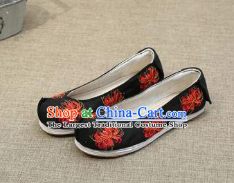 Chinese Ancient Traditional Embroidered Shoes Hanfu Embroidery Lycoris Black Cloth Shoes for Women