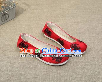 Chinese Ancient Traditional Embroidered Shoes Hanfu Embroidery Lycoris Red Cloth Shoes for Women