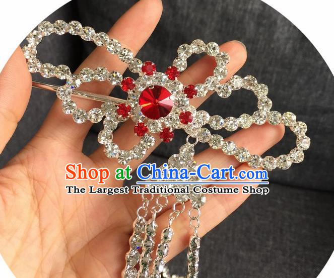 Chinese Traditional Peking Opera Diva Hair Accessories Ancient Red Crystal Tassel Hairpins for Women