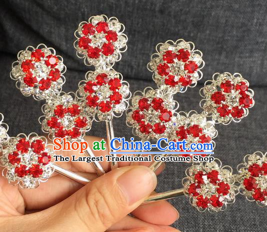 Chinese Traditional Peking Opera Diva Hair Accessories Ancient Red Crystal Wintersweet Hairpins for Women